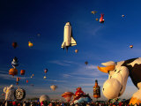 Space Shuttle and Cow Shaped Balloons at Balloon Fiesta  Albuquerque  New Mexico  USA