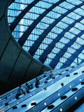 Escalators and Glassed in Roof at Canary Wharf Underground Station  London  England