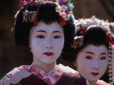 Geisha Girls  Looking at Camera  Kyoto  Japan