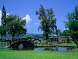 A Wooden Bridge in the Japanese Style in the Liliuokalani Gardens  Hilo  Hawaii  USA