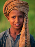 Boy with Orange Turban  Looking at Camera  Afghanistan