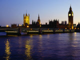 Big Ben  Houses of Parliament and River Thames at Dusk  London  England