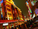 Coloured Lights on Nanjing Lu Buildings  Shanghai  China