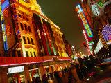 Coloured Lights on Nanjing Lu Buildings  Shanghai  China