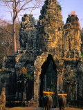 Elephants Outside the South Gate at Angkor Thom  Angkor  Cambodia