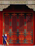 Cleaner Sweeps Steps Inside the Forbidden City  Beijing  China