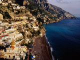Houses and Church of Santa Maria Assunta Above Spaggia Grande Beach  Positano  Italy