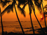 A Couple in Silhouette  Enjoying a Romantic Sunset Beneath the Palm Trees in Kailua-Kona  Hawaii