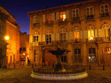 Renaissance Facades and Fountain in Place d&#39;Alberetas at Night  Aix-En-Provence  France