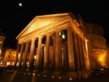 Full Moon Over Pantheon and Portico  Rome  Italy