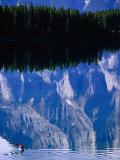 Kayaking on Lake Minewanka  Banff National Park  Alberta  Canada
