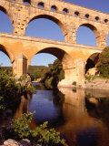 Pont Du Gard from Riverbank  Languedoc-Roussillon  France