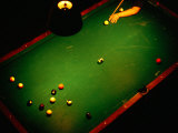 Playing Billiards at Temple Billiards in Pioneer Square  Seattle  Washington  USA