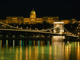 The Szechenyi Chain Bridge and the Royal Palace at Night  Budapest  Hungary
