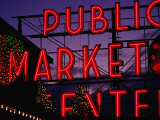 Pike Place Market Neon Sign  Seattle  Washington  USA