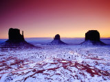 Looking Over Valley from Visitors Centre Area at Sunrise in Winter  Monument Valley  USA