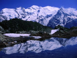 Reflection of Mont Blanc in Mountain Lake  Chamonix Valley  Rhone-Alpes  France
