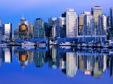 City Skyline and Coal Harbour  Dusk  Vancouver  Canada