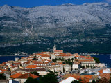 Island Town with Mountain Backdrop  Korcula  Croatia
