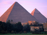 Pyramids of Giza from North East at Sunrise  Giza  Egypt