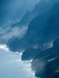Mist on Rocky Coastline  Kauai  Hawaii  USA
