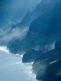 Mist on Rocky Coastline  Kauai  Hawaii  USA