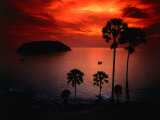 A Fiery Tropical Sunset at Prohmthep Cape  Phuket  Thailand