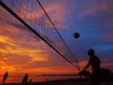 Sunset Volleyball on Playa De Los Muertos (Beach of the Dead)  Puerto Vallarta  Mexico