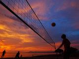 Sunset Volleyball on Playa De Los Muertos (Beach of the Dead)  Puerto Vallarta  Mexico