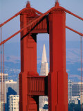 Golden Gate Bridge Tower and Transamerica Building  San Francisco  California  USA