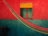 Detail of Painted House Facade with Shutter and Hammock  La Venta Del Sur Choluteca  Honduras