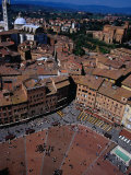 Aerial View of Square from Top of Torre Del Mangia Siena  Tuscany  Italy