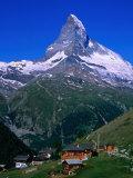 Matterhorn Towering Above Hamlet of Findeln  Valais  Switzerland