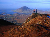 People on Slopes of Diamond Hill in Connemara National Park  Connemara  Ireland