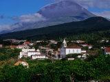 Pico Volcano Above Village on South Coast  Portugal