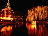 Lake in Tivoli Gardens Illuminated for Christmas Market  Copenhagen  Denmark