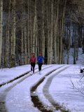 Women Jogging in a Wintery Park City  Park City  Utah  USA