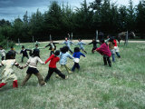 Indigenous Mapuche Children Playing on Outskirts of Town  Chol Chol  La Araucania  Chile