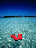 Red Thongs Floating on Sea off Ko Kham  Thailand