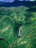 Aerial View of &quot;Jurassic Park&quot; Waterfall Where Scenes from the Movie Were Filmed  Kauai  Hawaii