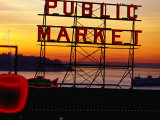 Pike Place Market Sign  Seattle  Washington  USA