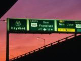 Freeway Sign in Mateo County  San Francisco  California  USA