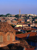 Byzantine Church in Foreground and Minaret of Suleymaniye Mosque in Background  Istanbul  Turkey