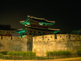 Old City Walls and Gate at Night  Jeonju  South Korea
