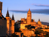 The Cathedral of Segovia from a Hillside at Sunset  Segovia  Castilla-Y Leon  Spain