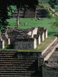 Temples 9 and 4 in the Central Square of the Maya Ruins  Copan  Honduras