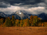 Storm Clouds Over Mountains and Trees  Grand Teton National Park  USA