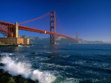 Waves Pound Fort Point Beneath the Golden Gate Bridge  San Francisco  California  USA