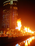 Fire Show in Front of Crown Casino  Melbourne  Australia