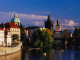 Charles Bridge and City Buildings from Manesuv Bridge  Prague  Czech Republic